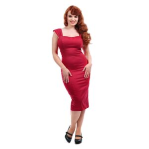 Collectif curvy fitted Pencil Dress REd