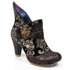 Black Boots with a cat design, kitten heel and curled up toe