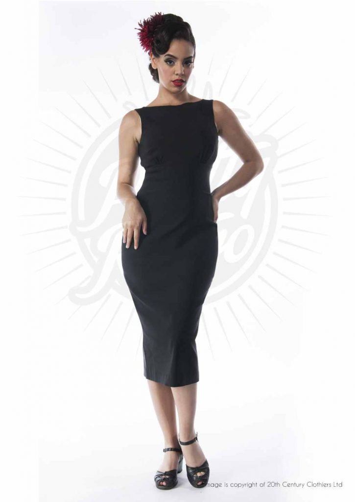 An image of a curvy lady in a black fitted pencil dress by Pretty Retro