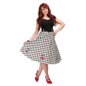Collectif checked retro style swing skirt