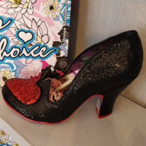 irregular choice black sparkly shoes with hearts