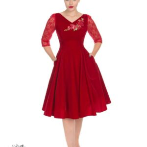 red velvet swing dress
