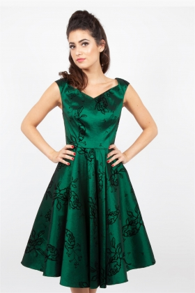green taffeta dress, A line