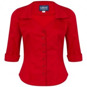 Red 3/4 sleeves smart blouse