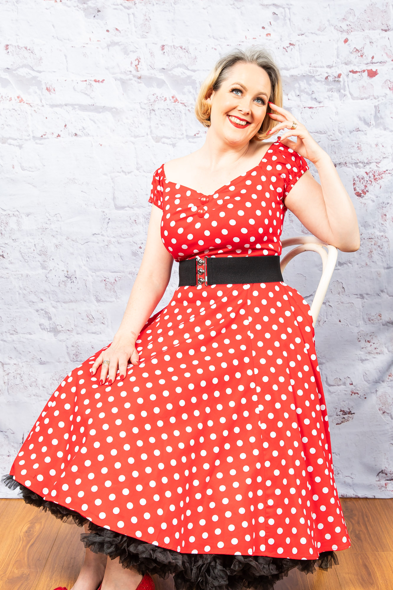 4afd1c3f297f4 Collectif - Dolores Swing Dress In Red Polka Dots - Miss Samantha's ...