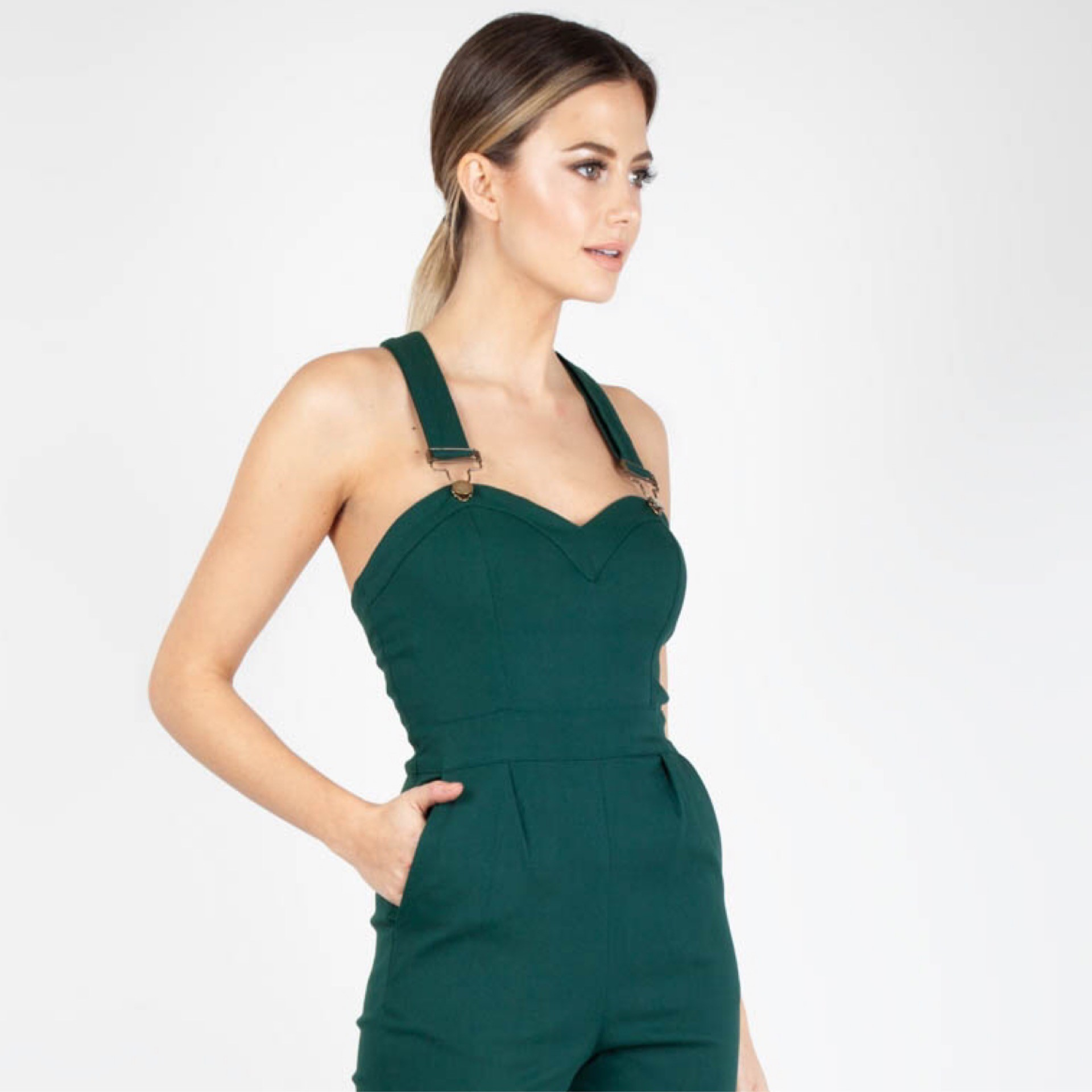 2c4dfd448 Voodoo Vixen - Connie Dungarees In Green - Miss Samantha's Vintage